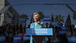 "Democratic presidential nominee, Hillary Clinton speaks during a ""Get out the vote,"" rally at Curtis Hixon Waterfront Park in downtown Tampa, Fla. on Wednesday, Oct. 26, 2016. (Loren Elliot / Tampa Bay Times)"