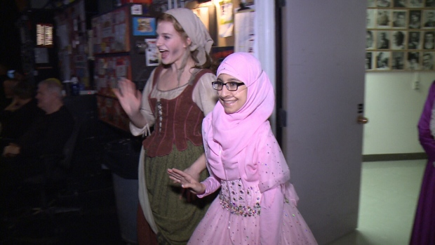 Fatima Nasser joins Tatyana Lubov, the lead actress in Rogers and Hammerstein's Cinderella, backstage at the National Arts Centre in Ottawa, Oct. 27, 2016