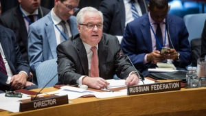 In this photo provided by the United Nations, Russia's UN Ambassador Vitaly Churkin address a security council meeting on Syria, Sunday Sept. 25, 2016, at UN headquarters. (Manuel Elias / The United Nations via AP)