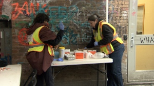 Volunteers with the Overdose Prevention Society set up a pop-up drug injection site near East Hastings Street and Main Street on Sunday, Nov. 20, 2016. (CTV News)