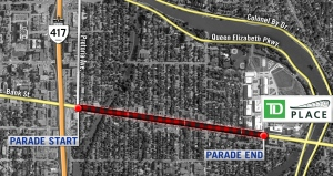 The parade is scheduled to start at noon at Bank Street and Pretoria Avenue, just south of the Queensway, before heading south on Bank Street. It will arrive at Lansdowne Park around 12:30 p.m. on Tuesday, Nov. 29, 2016.