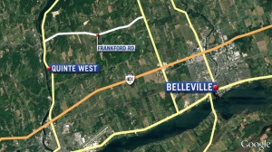 A man has died after being struck by a car on Frankford Road in Quinte West, near Belleville, Ont. just before 8 p.m. on Sunday, Dec. 4, 2016.