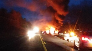An Ottawa couple has died following a fiery crash on Highway 7 around 5 p.m.on Sunday, Dec. 4, 2016. (Angela Wood/CTV Viewer)