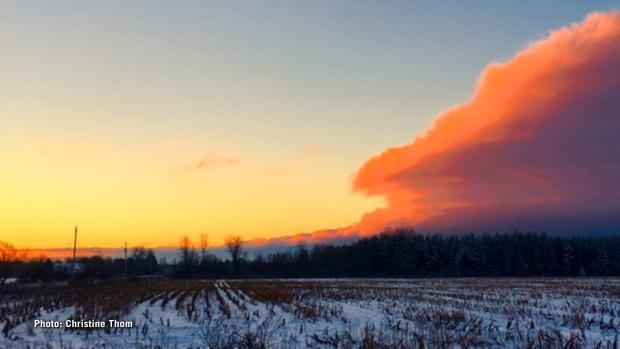 Orange skies just south of Heckston in North Dundas. (Christine Thom/CTV Viewer)