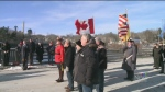 Canadians and Americans united at the border to honour each other's sacrifice on Saturday