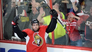 Ottawa Senators forward Clarke MacArthur celebrates a goal against the Montreal Canadiens during the first period of game 3 of first round Stanley Cup NHL playoff hockey action in Ottawa on April 19, 2015. (Sean Kilpatrick/The Canadian Press)