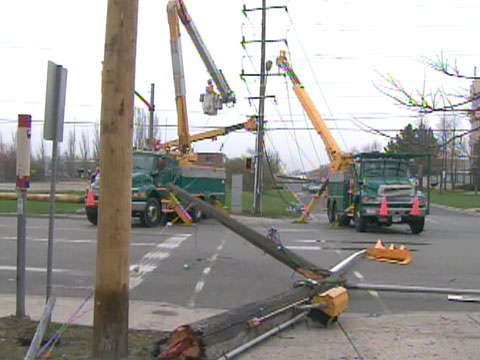 Hydro poles across Ontario were damaged after a severe storm blew through the GTA on Saturday, April 26, 2009.