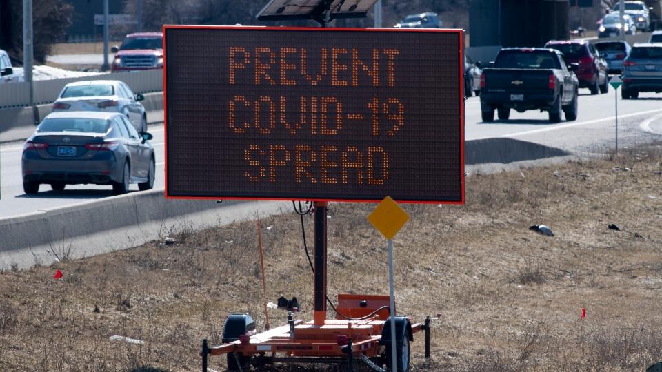 COVID-19 road sign in Ottawa
