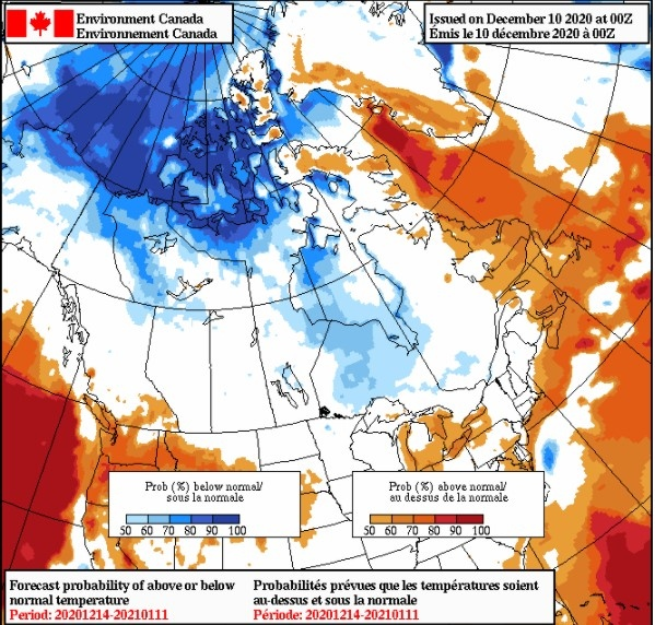 Environment Canada temperstures