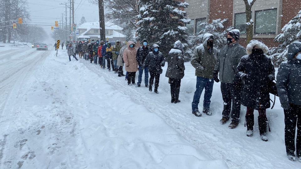 Line for vaccines Ottawa Feb 27