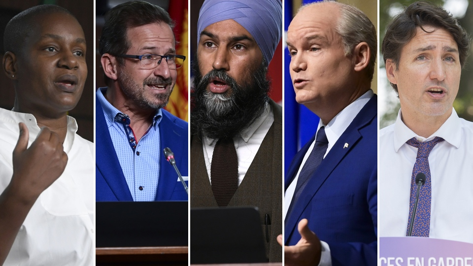 Paul, Blanchet, Singh, O'Toole and Trudeau