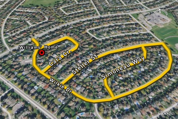 Ottawa police have investigated several break-ins in the Fallingbrook area, where Col. Russell Williams lived with his wife. The yellow lines indicate streets where homes were targeted.