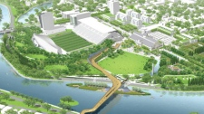 Several designs to redevelop Lansdowne Park's green space include a pedestrian footbridge over the Rideau Canal. Plan B also includes a man-made island.