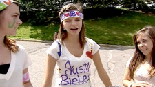 Justin Bieber fans gather outside Scotiabank Place hours before the concert, Tuesday, Aug. 24, 2010.