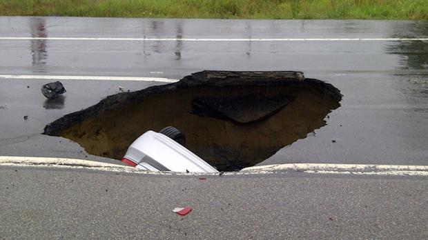 Car swallowed by sinkhole