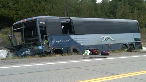 One person is dead after a crash involving this Greyhound bus on Highway 7 just west of Carleton Place Friday, Sept. 7, 2012. (courtesy Karen Rocznik)
