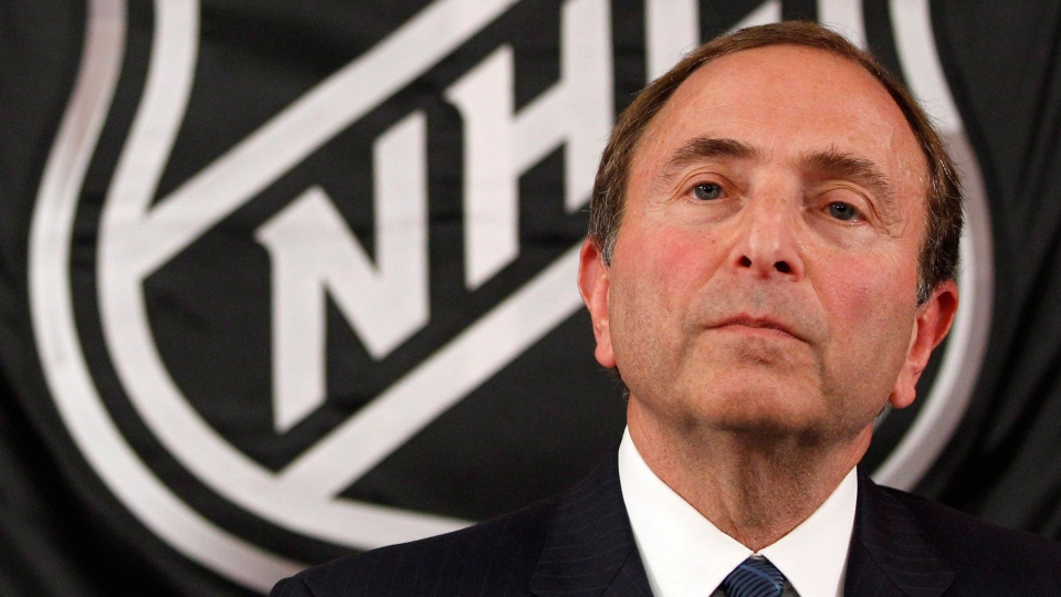 NHL commissioner Gary Bettman listens as he meets with reporters after a meeting with team owners  in New York on Thursday, Sept. 13, 2012.  (AP /Mary Altaffer)